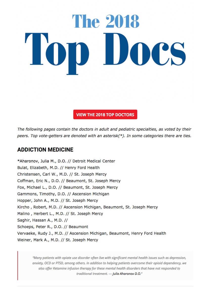 Dr Julia Aharonov - Top Docs List 2018 - Addiction Medicine - Hour Detroit Magazine